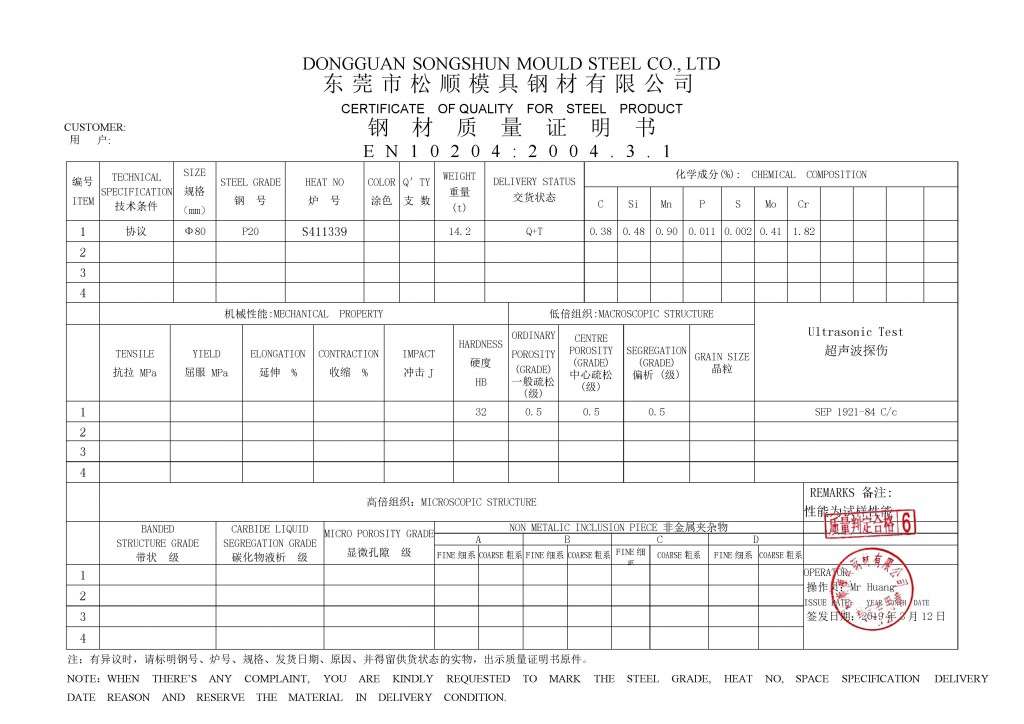 p20 steel quality certificate